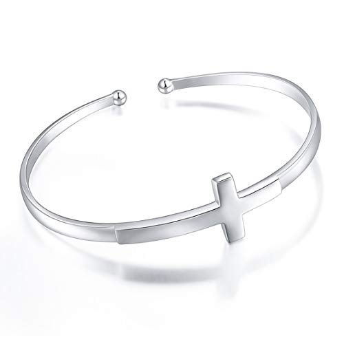 S925 Sterling Silver Engraved Faith Hope Love Inspirational Cuff Cross Bangle for Women Sister