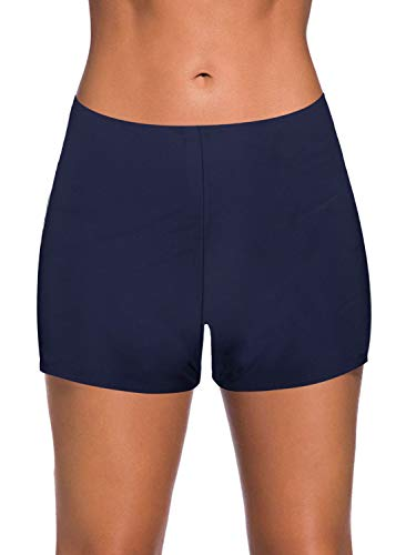 Yonique Womens Swim Shorts Solid Tankini Bottoms Swimsuit Bottoms Navy Blue XL