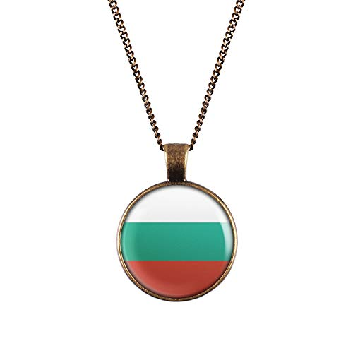 Mylery Hals-Kette mit Motiv Bulgarien Bulgaria Sofia Flagge Bronze 28mm