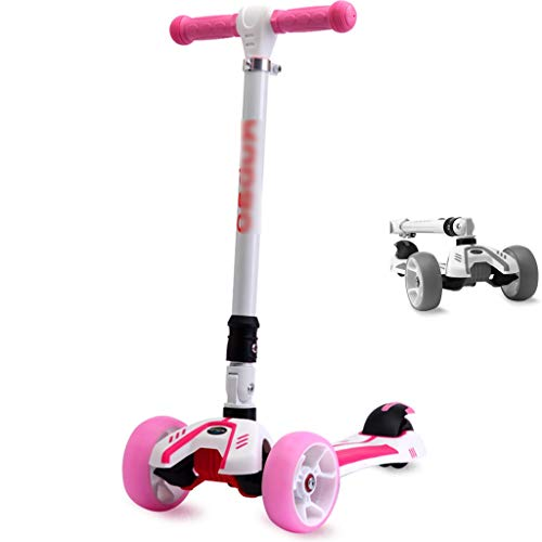 Find Discount Scooters Self Balancing 1-15 Year Old Children with One Foot Folding Flashing Four-Wheeled Portable Pedal Men and Women Skateboarding (Color : Pink, Size : 75-85cm)