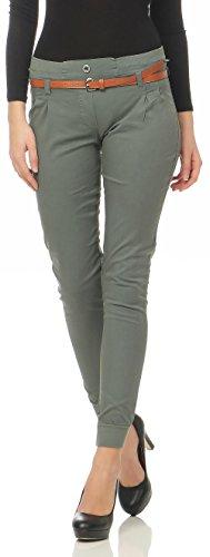 Malito Damen Chino Hose inkl. Gürtel | Stoffhose mit Stretch | lässige Freizeithose | Skinny - elegant 5396 (Oliv, L)