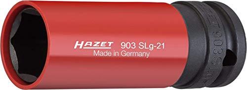 HAZET Steckschlüsseleinsatz (1/2 Zoll (12,5 mm) Vierkantantrieb, mit Kunststoffhülse zum Schutz von Felgen, Schlüsselweite: 21 mm) 903SLG-21