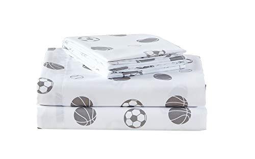 Chezmoi Collection 3-Piece Kids/Teens Sports Sheet Set - Soft Microfiber White Gray Baseball Basketball Football Soccer, Twin Size