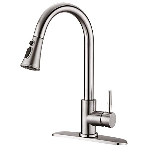 SADALAK Black Kitchen Taps with Pull Out Spray Head High Arc Stainless Steel Pull Down Modern One Hole Mixer Kitchen Tap