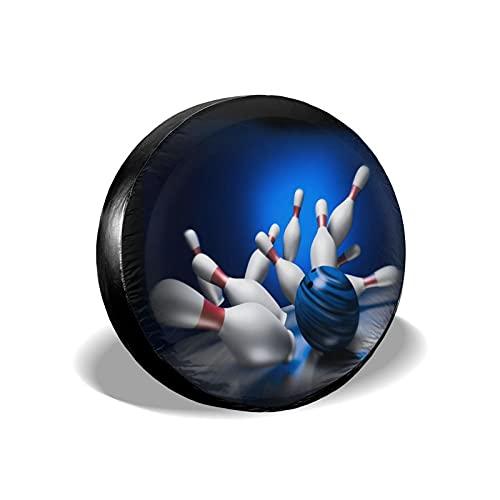 Bowling-Pins Ball Vintage Sport Reserverad-Reifen-Abdeckung, UV-beständig & 3D-gedruckt, nicht verblassend, kratzfest, weiche Rückseite, Autoreifen-Abdeckung für Wohnmobil, SUV, RV, 38,1 cm