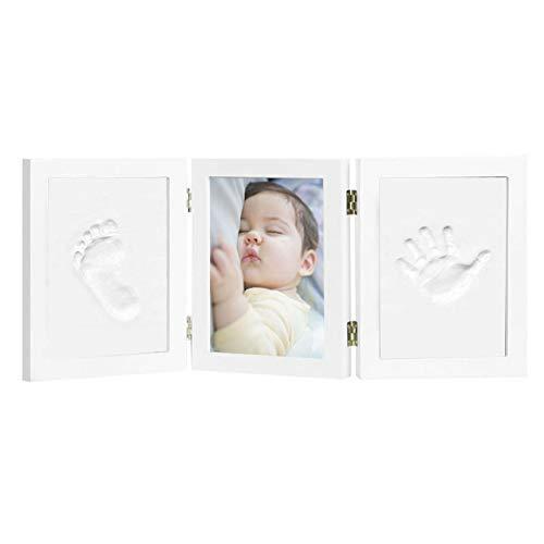 Kit de Marco Para Manos y Huellas 3D de Bebé, Marco Triple de Madera para Fotos, Regalo Recuerdo Perfecto para Baby Shower