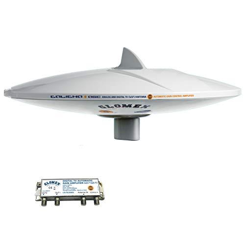Glomex Marine TV Antenne Talitha V9125/12 für terrestrischen Empfang von für analog & digital TV DVB-T 360° Empfang 40/ 890 mhz, 2,2db, 75 Ohm omnidirektional auf Boot Schiff Yacht V9125 / AGCU