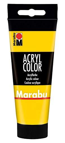 Marabu 12010050019 - Acryl Color gelb 100 ml, cremige Acrylfarbe auf Wasserbasis, schnell trocknend, lichtecht, wasserfest, zum Auftragen mit Pinsel und Schwamm auf Leinwand, Papier und Holz