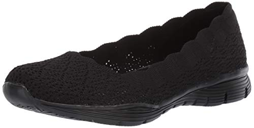 Skechers Women's Seager-Infield-Scalloped Engineered Knit Skimmer Ballet Flat Black, 5 M US