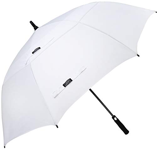 G4Free 54 Inch Automatic Open Golf Umbrella Windproof Extra Large Oversize Double Canopy Vented Windproof Waterproof Stick Umbrellas for Men (White)
