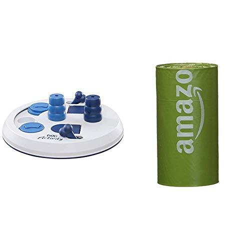 Trixie Dog Activity, Flip Board - Gioco Interattivo, colore assortito & Amazon Basics Sacchetti igienici per cani con additivi certificati EPI e dispenser e clip per attacco al guinzaglio