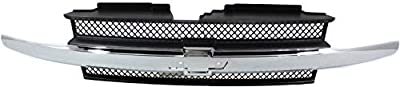 Grille Assembly Compatible with CHEVROLET TRAILBLAZER 2002-2005 Painted-Black with Chrome Center Bar