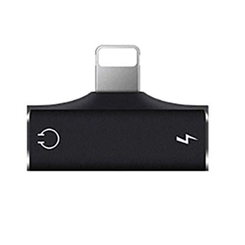 GBHD Lector de Tarjetas SD Cable de Audio del Divisor de Carga AUX 2 en 1, Adecuado para el Adaptador de Cargador de iPhone 1.2m (Color : Black)