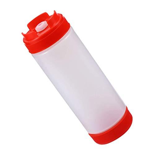 GHJA Botella para Exprimir Salsa, dispensador de condimentos de válvula pequeña de plástico Multiusos para aderezos de rebozado de Tomate, 20 oz (Rojo)