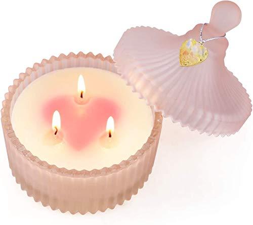 Yinuo Candle Duftkerze für Frau,Tolles Geschenk Glas Duftkerzen 3 Dochte Soja Wachs Rosen Aromatherapie Kerzen mit Deckel.