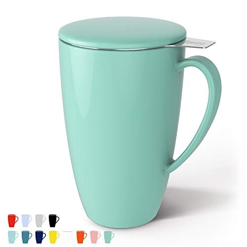 Sweese 201.109 Porcelain Tea Mug with Infuser and Lid, 15 OZ, Mint Green