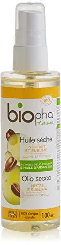 Biopha Nature – Huile Sèche Corps et Cheveux – Huile d'Argan & Huile de Jojoba Bio – Sublime et Nourrit La Peau et Les Cheveux – Spray 100ml