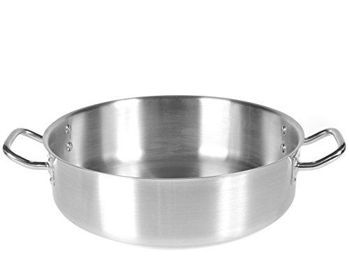 PARDINI Casseruola Inox albergo Bassa 2 Manici cm50 Pentole Cucina, Acciaio Inossidabile, Argento, 50 cm