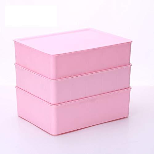 C-J-Xin Plastic opbergdoos, Stamped Classification Inner Storage Box Ondergoed Sock Panties Storage Box Slaapkamer driedelig pak Opslag & Organisatie (Color : Pink 3 Pcs)