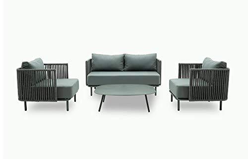 Stilè - Juego de sofás de aluminio para exteriores - Bonito sofá de jardín con dos sillones y mesa