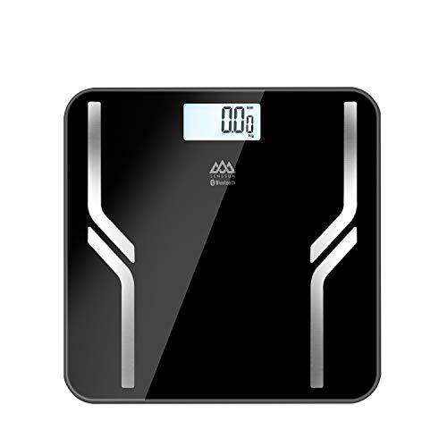 SENSSUN Balance Pese Personne, Mesure de Graisse Corporelle Numérique, Pèse Personne Impedancemetre Connecté Bluetooth,180kg/400lb,Rétroéclairé LED (1016-noir)