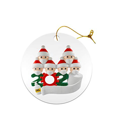 Jasinto 2020 Family of 1 2 3 4 5 6 7 Personalized Pendant Ornaments with Face Macks DIY Santa Party Decoration Product Customized Hanging Christmas Decoration Set Creative Gift Wooden Model