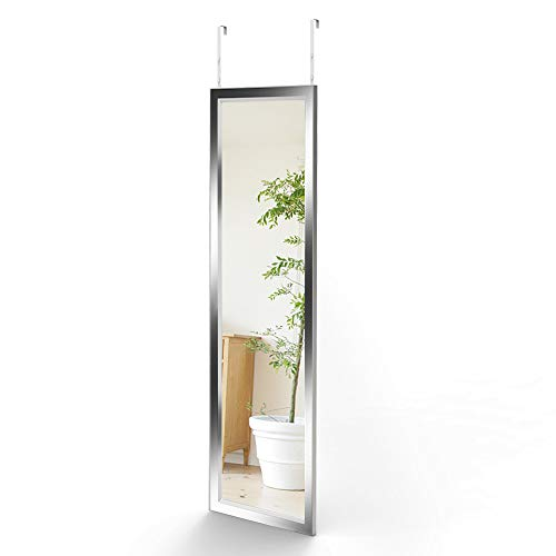 Dripex Wandspiegel 33x119cm Spiegel unbrechbarer Garderobenspiegel Flurspiegel höhenverstellbarer Hängespiegel mit Haken (Silber-119cm)