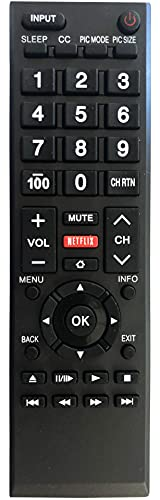 Replacement Remote for All Toshiba TVs, LCD, LED, Smart, and 4K TVs. No Setup Needed.