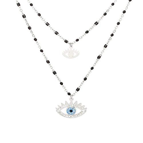 CHENGTAO Cuentas De Cristal Negro De Doble Capa Collar De Acero Inoxidable para Mujeres Star Heart Moon Choker Summer (Metal Color : Double Layer Eye)