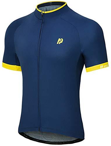 PTSOC Men's Basic Cycling Jerseys Tops Bike Shirt with 3 Rear Pockets Ink Medium
