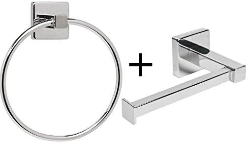 Conjunto de soporte de papel higiénico y toallero de anilla para cuarto de baño de Silver Square; forma cuadrada, color plateado.