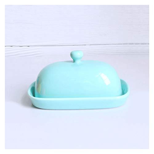 Recipiente para Mantequilla Plato de mantequilla simple con tapa, contenedor de mantequilla de cerámica (azul / rojo / blanco / amarillo) que se puede usar en hornos de microondas, lavavajillas, refri