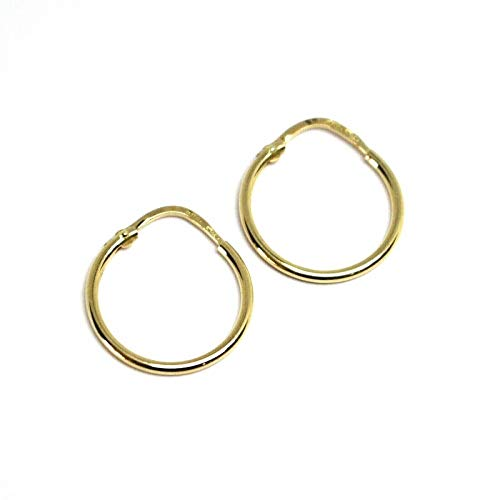 Earrings in 18k yellow gold , 750 , small circles, diameter 15 mm, thickness 1.2 mm MADE IN ITALY
