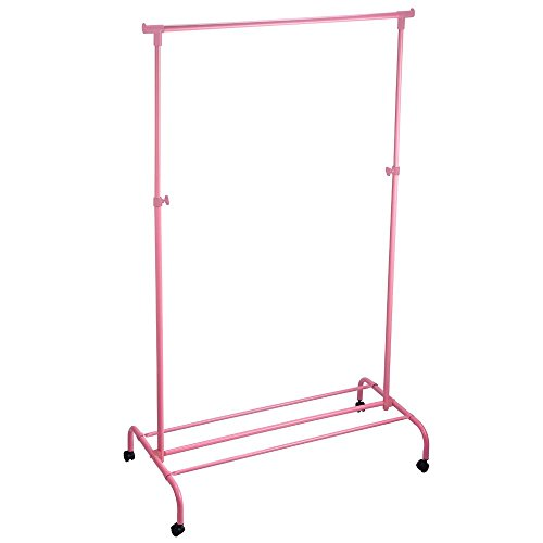 Home Vida Single Adjustable Clothes Rail Garment Rack, Pink