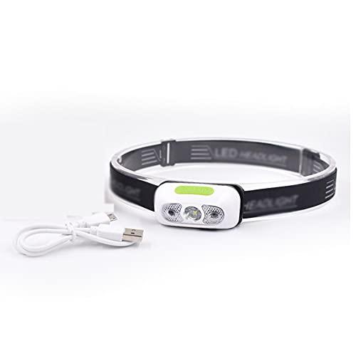 TSRJ Linterna Frontal LED, Linterna Frontal COB Ultraligera con 3 Modos, Linterna Frontal con Sensor de Movimiento Impermeable IPX5 para Camping, Ciclismo, Escalada, Senderismo, Pesca,White