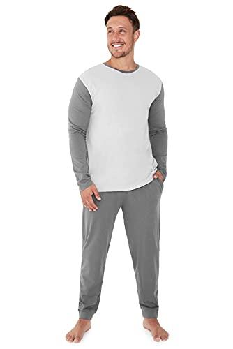 City Comfort Pijama Invierno con mangas largas para Hombre, Gris Claro Oscuro, XL