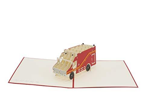Rettungswagen, Krankenwagen, 1.Hilfe, rettungs-sanitäter, Artzt, Notfallsanitäter, RTW, 3d Klappkarte, Pop Up Karte, Glückwunschkarte, Grußkarte, Geschenkkarte