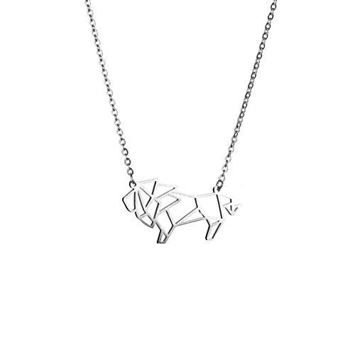 La Menagerie León Plata, Joya de Origami & Collar geométrico Plata Mujer - Collar bañado en Plata de Ley 925 con diseño Animal león - Joyería para niñas y Mujeres