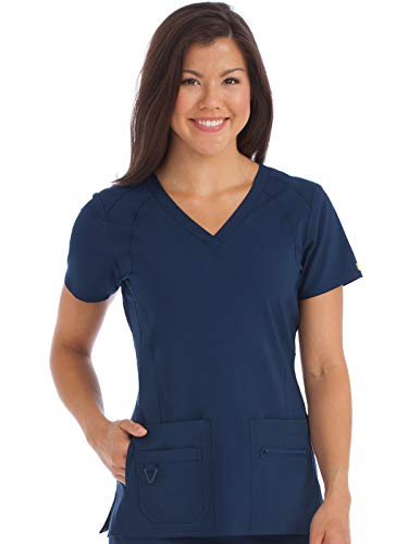 Med Couture Activate VNeck Racerback Scrub Top for Women Navy XSmall
