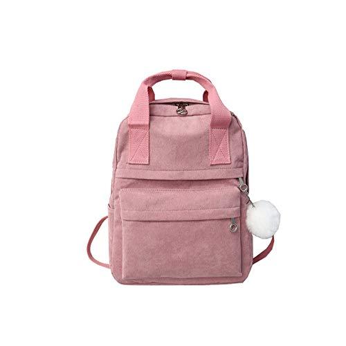 VICTOESimple Damen Rucksack mit Haarball, einfarbig, aus Kord, modisch, für Frühling und Winter, Gänsedaunen, Rose (Pink) - VICTOE-9510