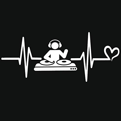 Oneriverspring40 DJ Djing Bar Music Lover Auricular Pegatina de Coche Calcomanía de Tronco Impermeable Negro/Plata (Color Name : Sliver, Size : 25cm Wide)