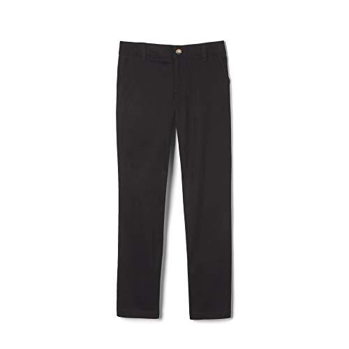 French Toast Girls' Adjustable Waist Stretch Twill Straight Leg Pant (Standard & Plus), Black, 16