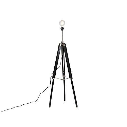 QAZQA Landelijke vloerlamp driepoot zwart met staal - Cortin Hout/Metaal Overig Geschikt voor LED Max. 1 x 40 Watt