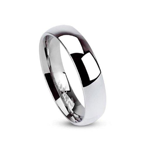 Paula & Fritz, classico anello nuziale a fascia in acciaio inox color argento, elevata lucidità, 5 mm, acciaio chirurgico 316L, taglie 7 – 29 R001 5, acciaio inossidabile, 53 (16.9), cod. R001-5-07