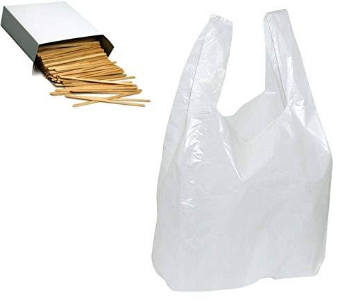 T060 ] 2000 Stück 25+12x45cm Tüte Hemdchen Tragetaschen Plastik-Beutel Tüten weiß