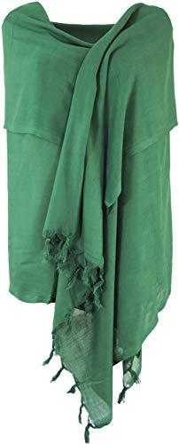 GURU SHOP Leichter Schal, Einfarbiges Tuch, Herren/Damen, Smaragdgrün, Synthetisch, Size:One Size, 170x100 cm, Tücher Alternative Bekleidung