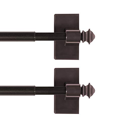 H.VERSAILTEX Magnetic Curtain Rods for Metal Doors Multi-Use Rods for Small Windows Cafe Sidelight and Iron Steel Places, Tool Free with Square Finials (2 Pack, Adjust from 16 to 28 Inch, Cocoa)