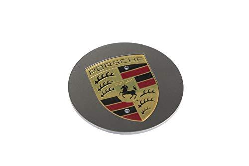 Porsche NEU+Orig Radzierdeckel konkav Platinum Wappen farbig/Hub Cap concave