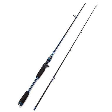 Entsport 2-Piece Casting Rod Graphite Portable Baitcast Rod Inshore Baitcasting Fishing Rod Freshwater Baitcaster Rod Baitcaster (8-20-Pound Test) (New Style 7' Medium Heavy)