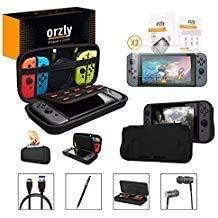Orzly Pack Esencial de Accesorios para Nintendo Switch [Incluye: Protectores de Pantalla, Cable USB, Funda para Consola, Estuche Tarjetas de Juego, Funda Comfort Grip, Auriculares] – Negro
